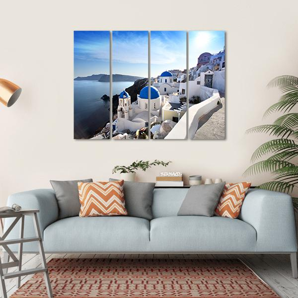 Santorini With Churches Multi Panel Canvas Wall Art 1 Piece / Small / Gallery Wrap Tiaracle