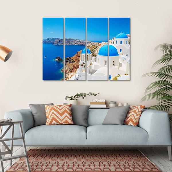Blue Ocean And Dome, Santorini Multi Panel Canvas Wall Art 1 Piece / Small / Gallery Wrap Tiaracle