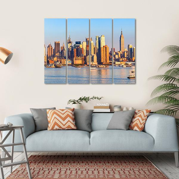 Panoramic View Of Manhattan Multi Panel Canvas Wall Art 1 Piece / Small / Gallery Wrap Tiaracle