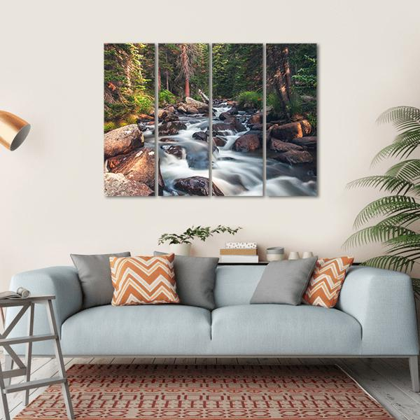Dreamy Mountain Stream Multi Panel Canvas Wall Art 1 Piece / Small / Gallery Wrap Tiaracle