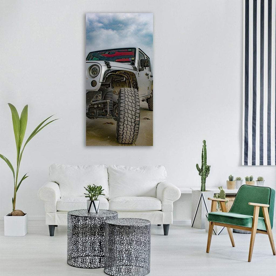 4x4  Jeep Vertical Canvas Wall Art 3 Vertical / Small / Gallery Wrap Tiaracle