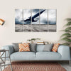 View Of Military Airplane On Speed Multi Panel Canvas Wall Art 5 Horizontal / Small / Gallery Wrap Tiaracle