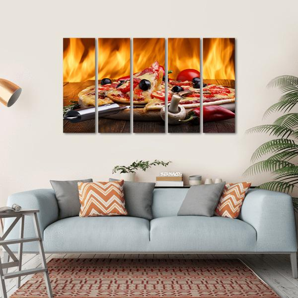 Hot Pizza With Oven Fire Multi Panel Canvas Wall Art 4 Horizontal / Small / Gallery Wrap Tiaracle