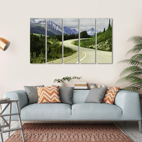 Road In Mountain, Alaska Multi Panel Canvas Wall Art 1 Piece / Small / Gallery Wrap Tiaracle