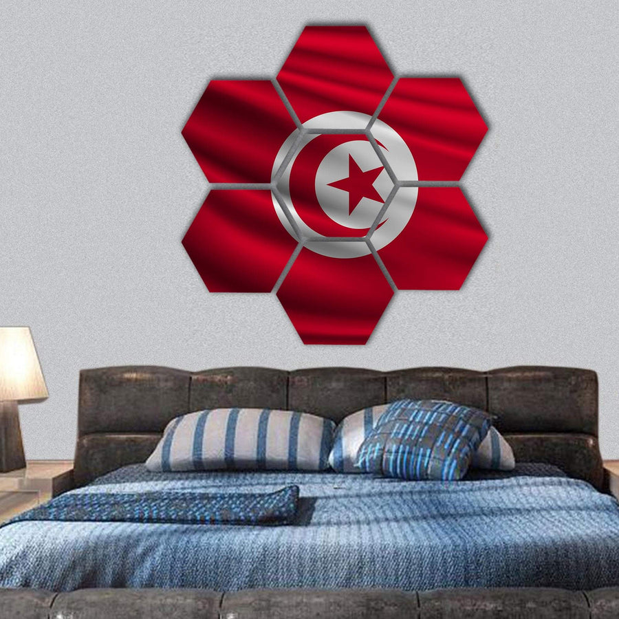 The National Flag Of Tunisia Hexagonal Canvas Wall Art 1 Hexa / Small / Gallery Wrap Tiaracle