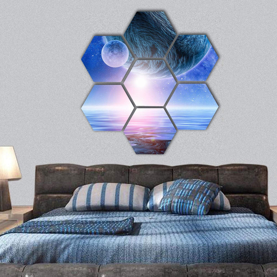 View Of Planets In Deep Space Hexagonal Canvas Wall Art 1 Hexa / Small / Gallery Wrap Tiaracle