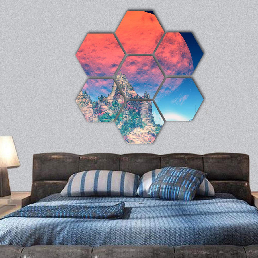 Rocks And Sky On Alien Planet Hexagonal Canvas Wall Art 1 Hexa / Small / Gallery Wrap Tiaracle