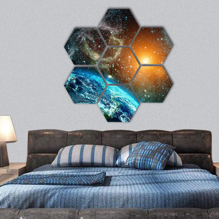View Of The Earth From Space Hexagonal Canvas Wall Art 1 Hexa / Small / Gallery Wrap Tiaracle