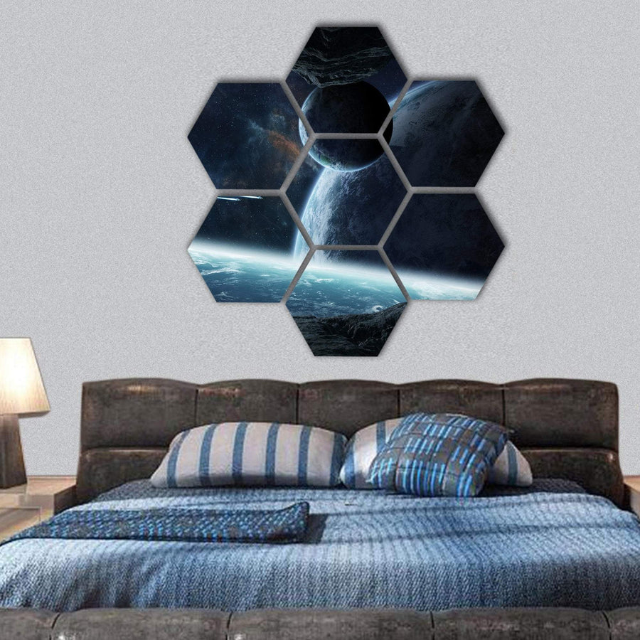 Planets View From Cave Hexagonal Canvas Wall Art 1 Hexa / Small / Gallery Wrap Tiaracle