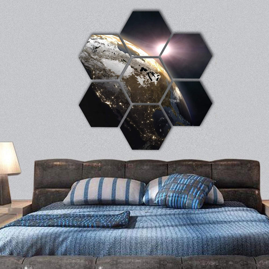Sunrise Over The Earth Hexagonal Canvas Wall Art 1 Hexa / Small / Gallery Wrap Tiaracle