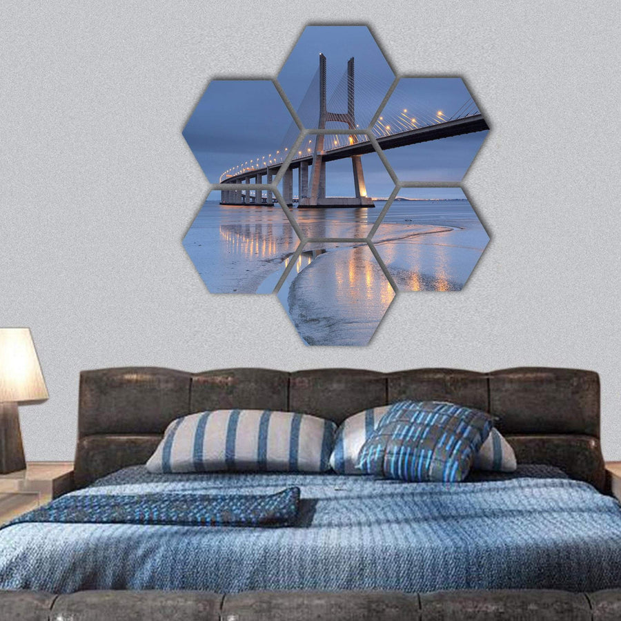 Vasco Da Gama Bridge Hexagonal Canvas Wall Art 1 Hexa / Small / Gallery Wrap Tiaracle