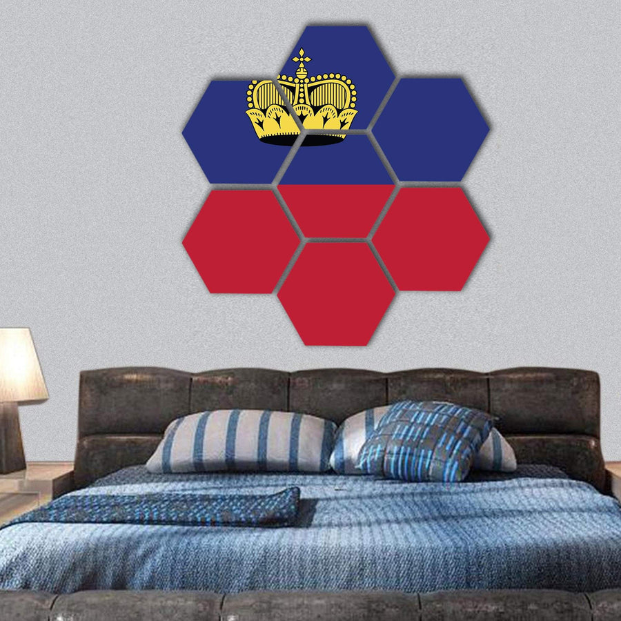 Liechtenstein National Flag Hexagonal Canvas Wall Art 1 Hexa / Small / Gallery Wrap Tiaracle