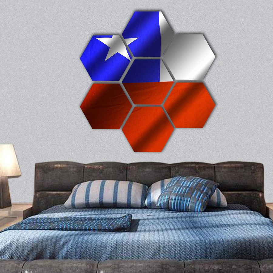 Flag Of Chile Hexagonal Canvas Wall Art 1 Hexa / Small / Gallery Wrap Tiaracle