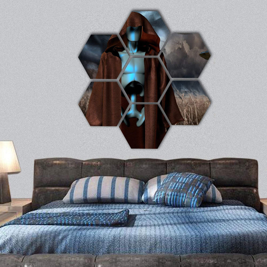 Alien Robot Stands In Field Hexagonal Canvas Wall Art 1 Hexa / Small / Gallery Wrap Tiaracle