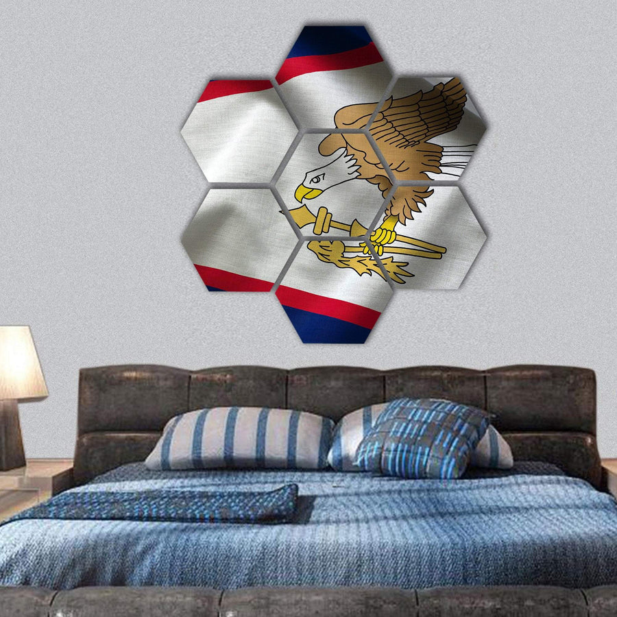Flag Of American Samoa Hexagonal Canvas Wall Art 1 Hexa / Small / Gallery Wrap Tiaracle
