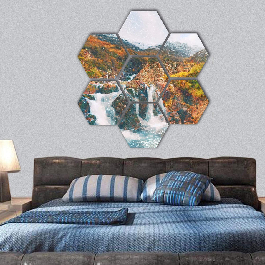 Waterfall in Scotland Hexagonal Canvas Wall Art 1 Hexa / Small / Gallery Wrap Tiaracle