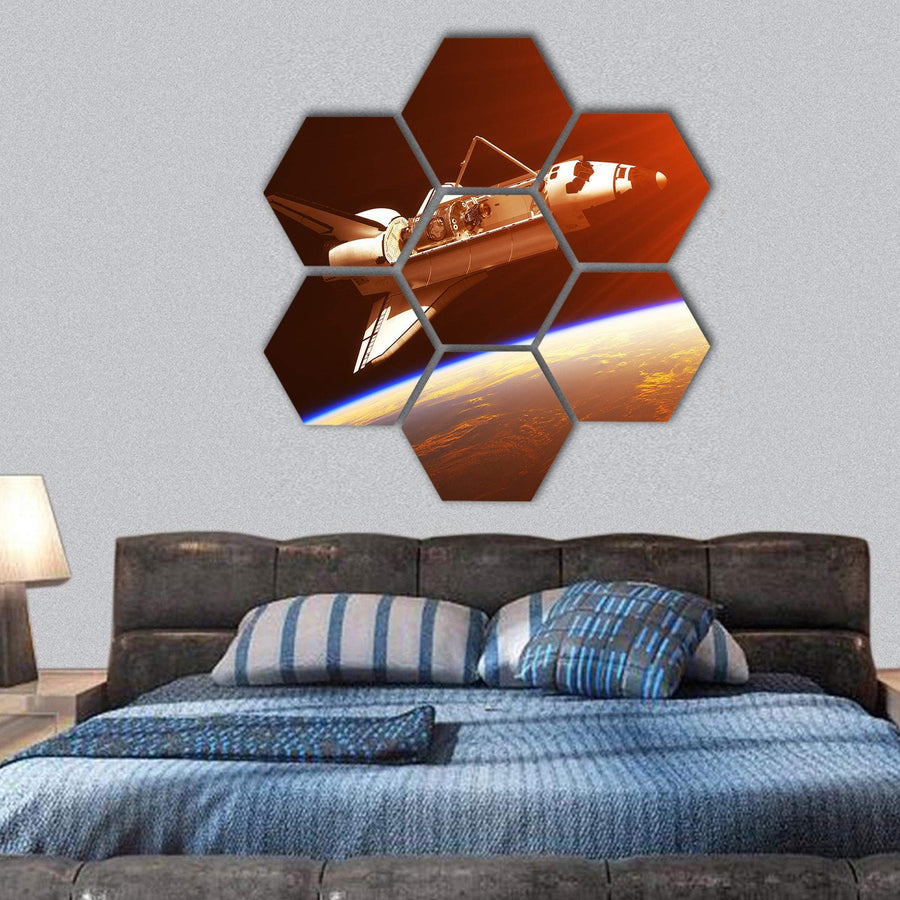 Space Shuttle In Rising Sun Hexagonal Canvas Wall Art 1 Hexa / Small / Gallery Wrap Tiaracle