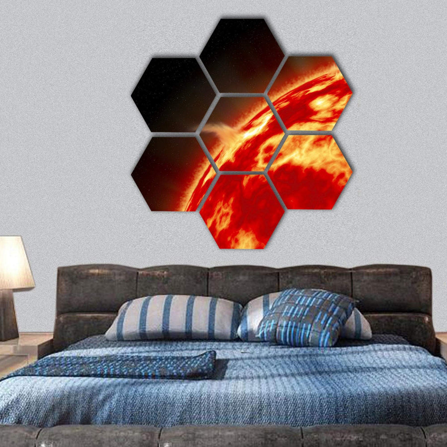 Sun With Solar Flares Hexagonal Canvas Wall Art 1 Hexa / Small / Gallery Wrap Tiaracle