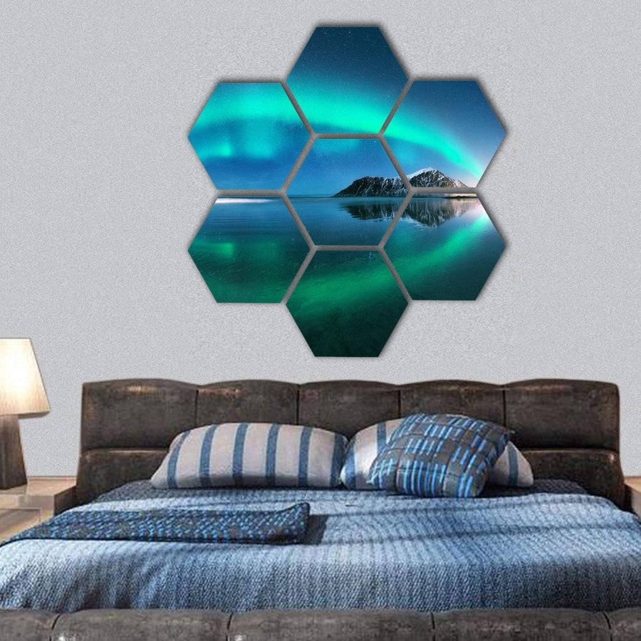 Night Winter Landscape With Aurora Hexagonal Canvas Wall Art 1 Hexa / Small / Gallery Wrap Tiaracle