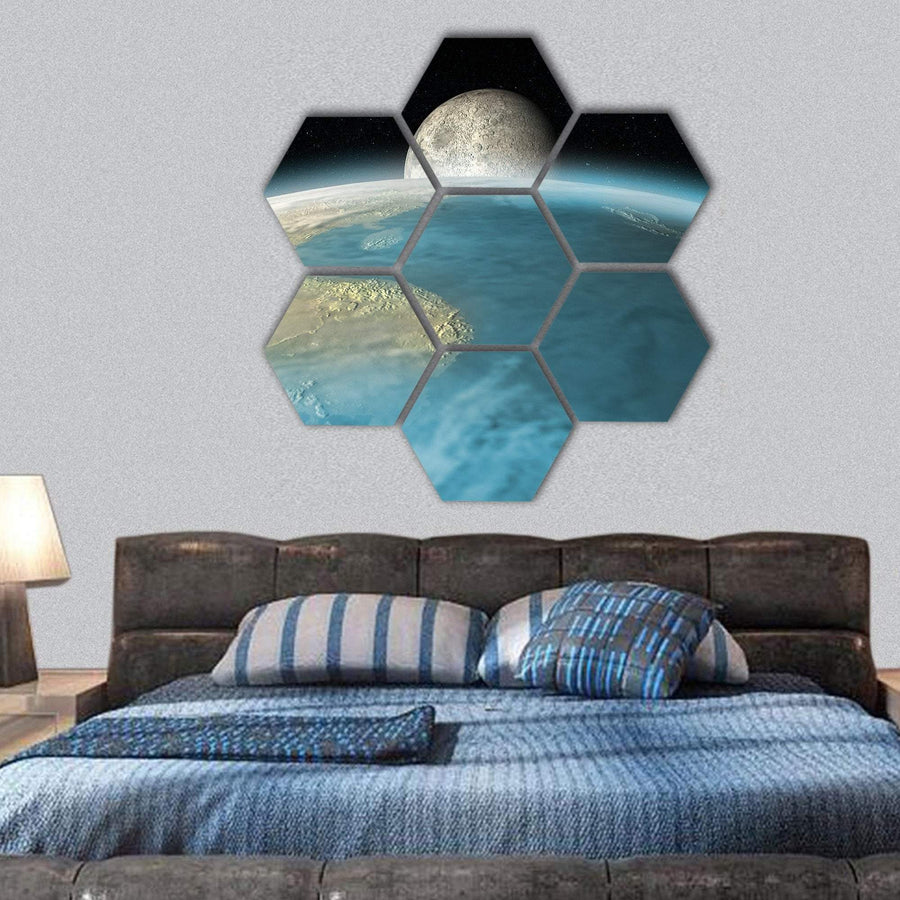 Moon Rising Over Earth Hexagonal Canvas Wall Art 1 Hexa / Small / Gallery Wrap Tiaracle