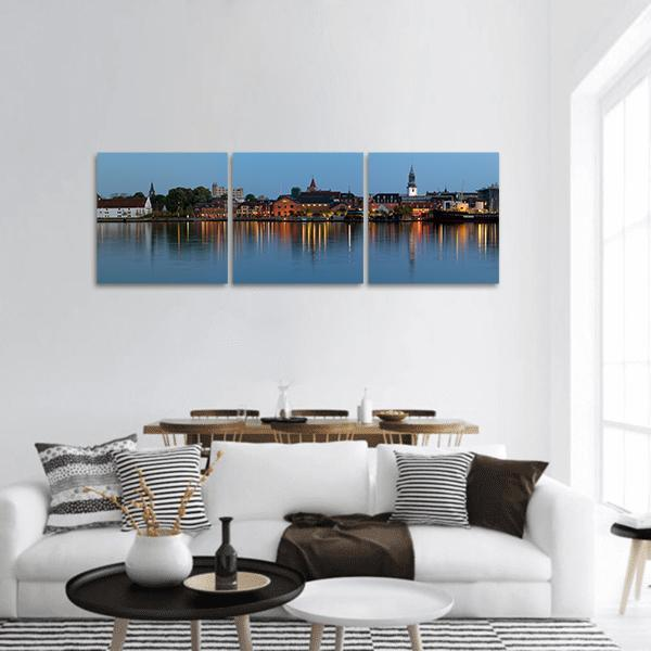 Aalborg Cityscape At Night Panoramic Canvas Wall Art Tiaracle