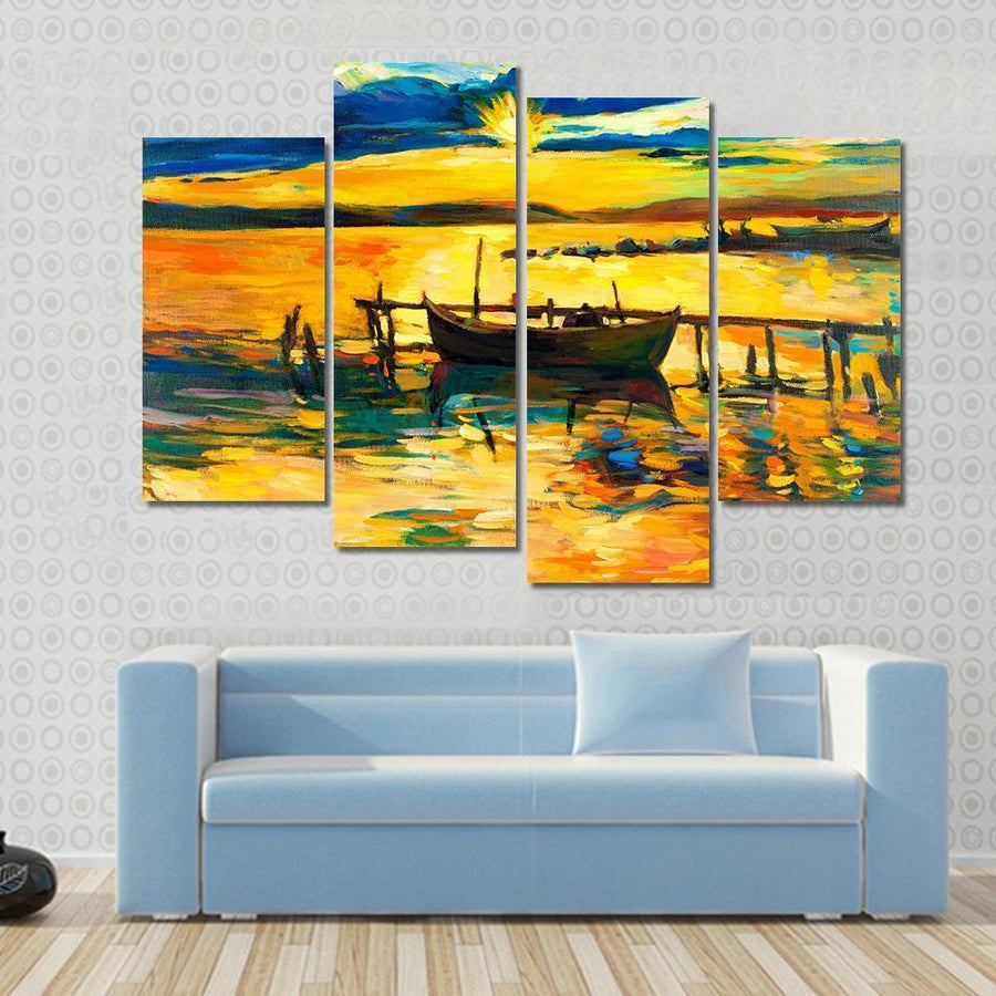 Boat And Jetty At Sunset Over Ocean Multi Panel Canvas Wall Art 3 Pieces / Small / Gallery Wrap Tiaracle