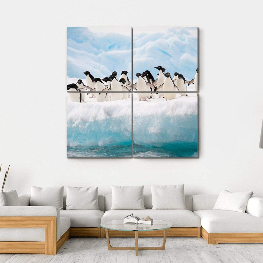 Adelie Penguins Colony On Iceberg Antarctica Multi Panel Canvas Wall Art Tiaracle