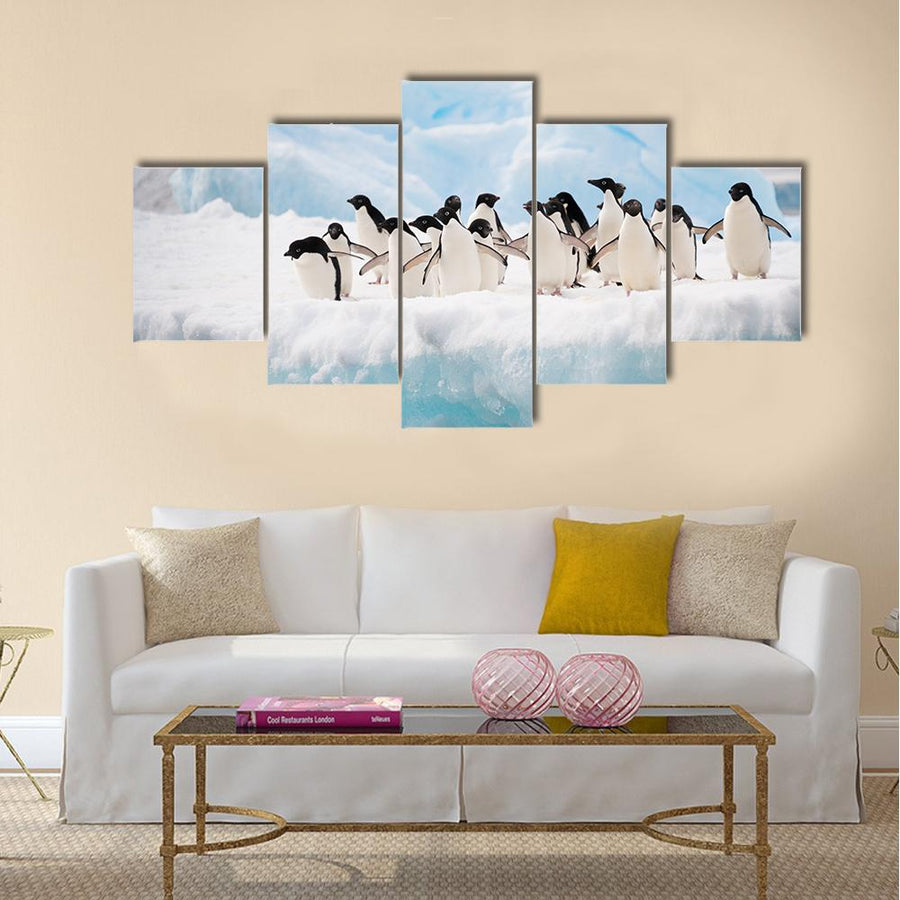 Adelie Penguins Colony On Iceberg Antarctica Multi Panel Canvas Wall Art 4 Pop / Small / Gallery Wrap Tiaracle