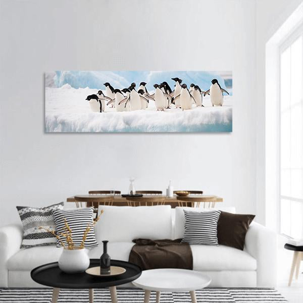 Adelie Penguins Colony On Iceberg Antarctica Panoramic Canvas Wall Art 3 Piece / Small Tiaracle