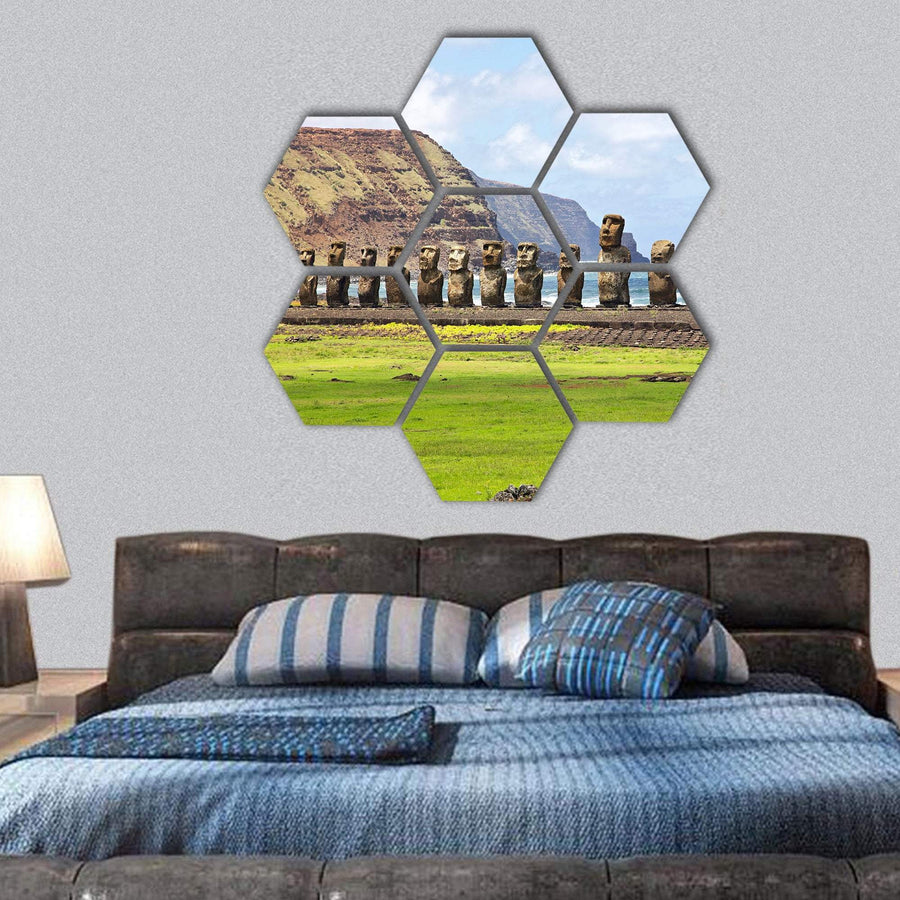 Ahu Tongariki On Easter Island Hexagonal Canvas Wall Art 1 Hexa / Small / Gallery Wrap Tiaracle