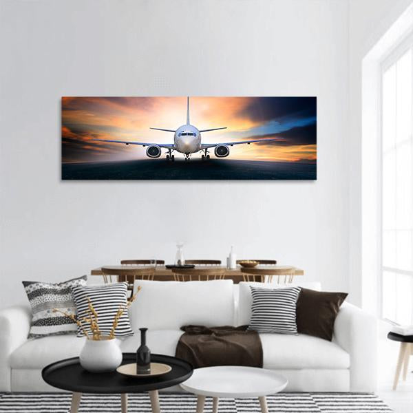 Air Plane For Take Off Panoramic Canvas Wall Art Tiaracle