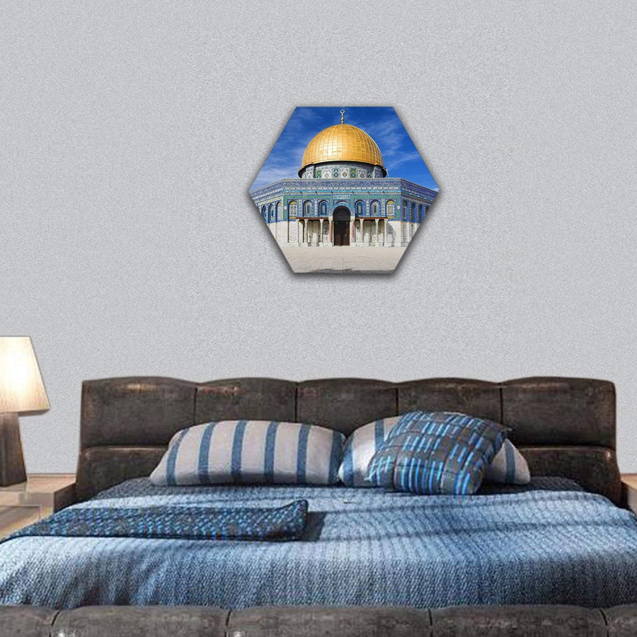 Al Aqsa Mosque In Jerusalem Under Clear Sky Hexagonal Canvas Wall Art 7 Hexa / Small / Gallery Wrap Tiaracle