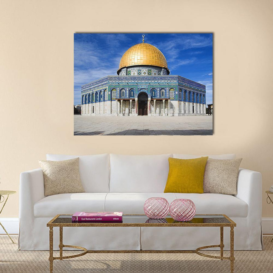 Al Aqsa Mosque In Jerusalem Under Clear Sky Multi Panel Canvas Wall Art 4 Square / Small / Gallery Wrap Tiaracle