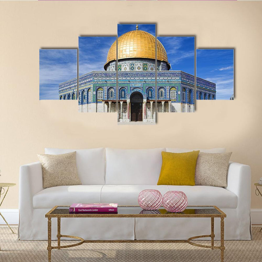 Mosque Dome Of The Rock On The Temple Mount, Jerusalem In Blue sky, Palestine Canvas Panel Painting Tiaracle