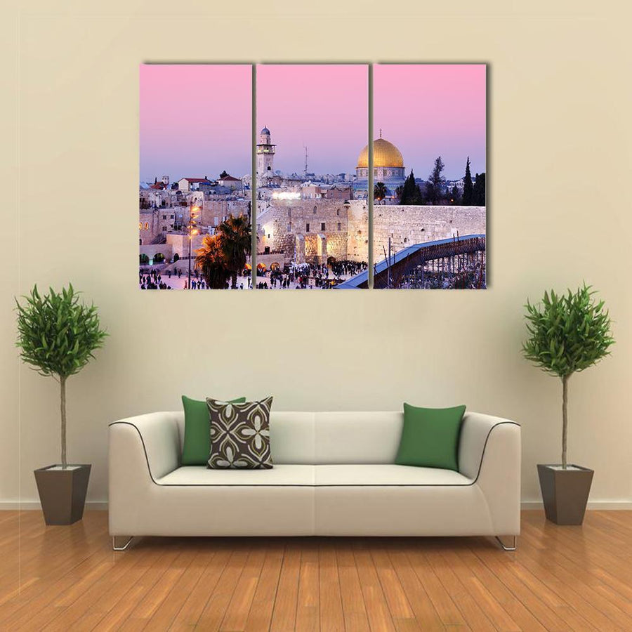 Dome Of The Rock And Western Wall In Jerusalem At Dusk, Palestine Canvas Panel Painting Tiaracle