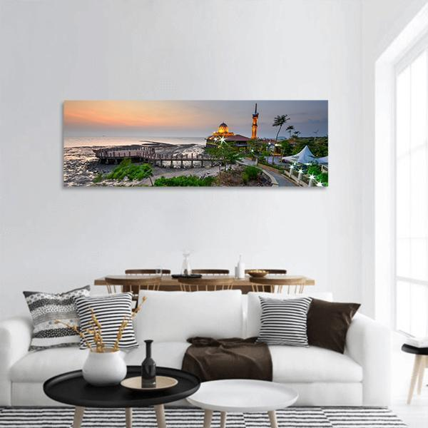 Al Hussien Mosque In Malaysia Panoramic Canvas Wall Art Tiaracle