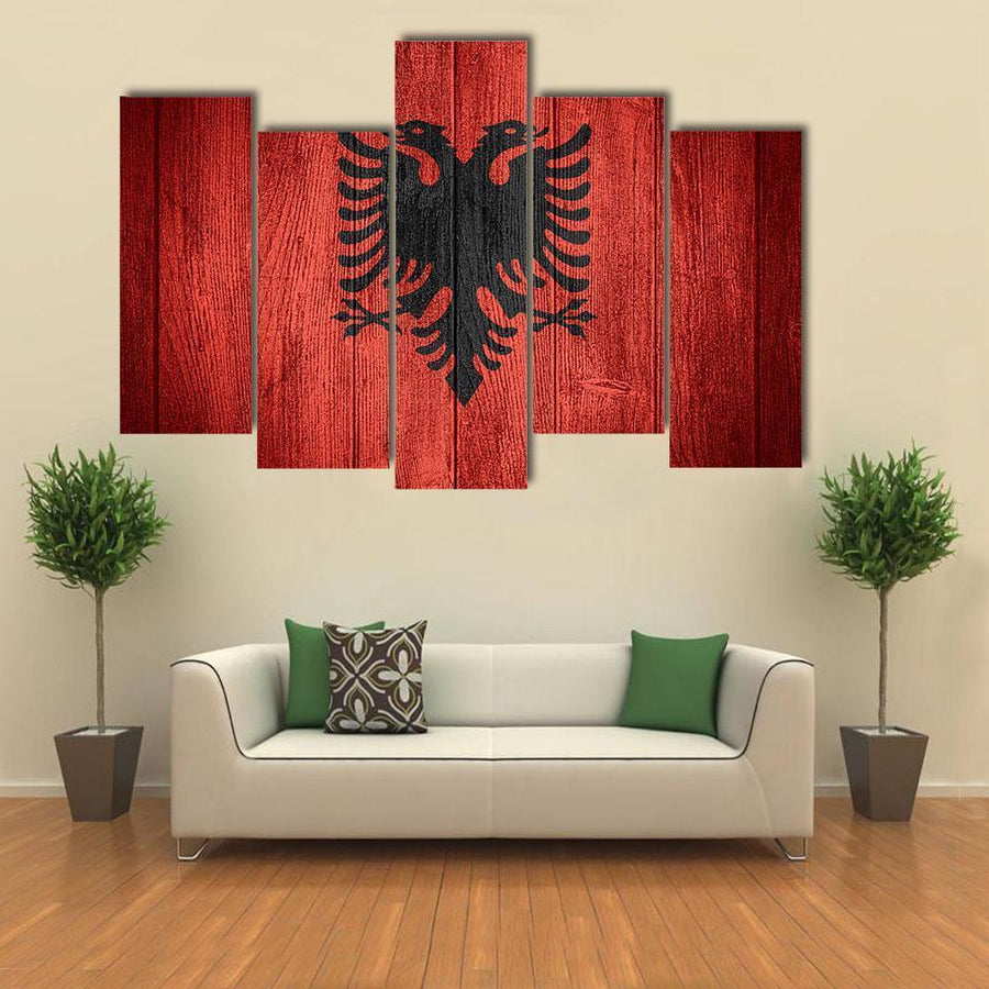 Albania Flag On Wooden Boards Multi Panel Canvas Wall Art 4 Pieces / Medium / Canvas Tiaracle