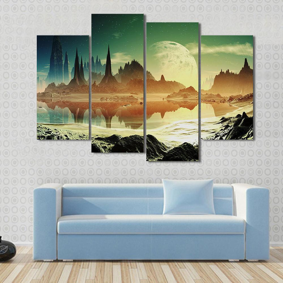 Alien City Ruins Beside The Lake Multi Panel Canvas Wall Art 3 Pieces / Small / Canvas Tiaracle