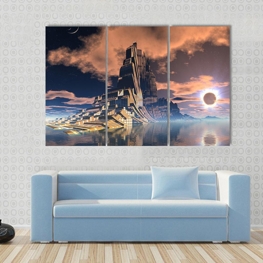 Futuristic Alien City At Lunar Eclipse Canvas Panel Painting Tiaracle