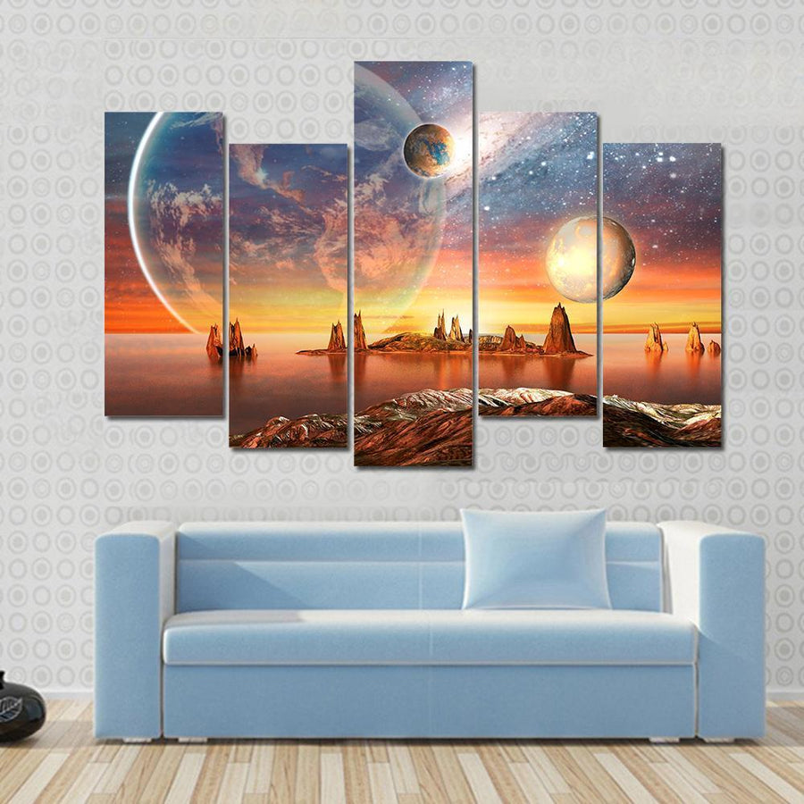Alien Planet With planets, Moon And Mountains Multi Panel Canvas Wall Art 3 Pieces / Small / Canvas Tiaracle