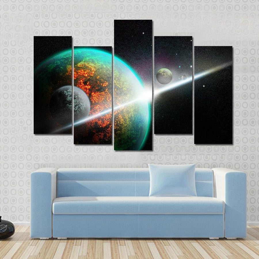 Alien planet With Rings And Moon Canvas Panel Painting Tiaracle