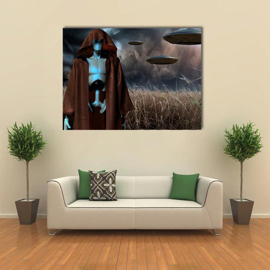 Alien Robot Stands In Field Canvas Wall Art-4 Horizontal-Small-Gallery Wrap-Tiaracle