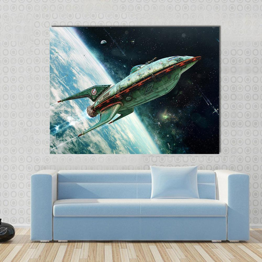 Alien Space Shuttle Moving Away From Earth Canvas Panel Painting Tiaracle