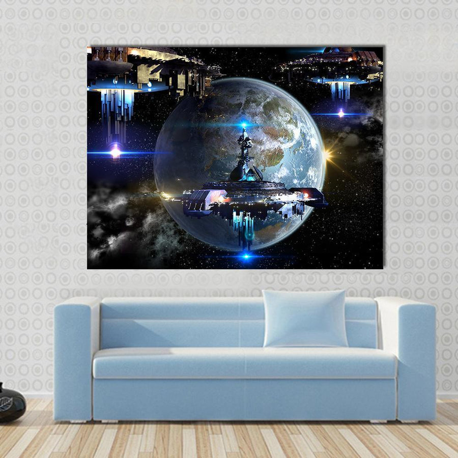 Alien Spaceship Fleet Moving Near Earth Canvas Panel Painting Tiaracle