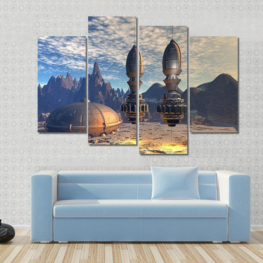 Alien Spaceship On Deep Space Planet Canvas Panel Painting Tiaracle