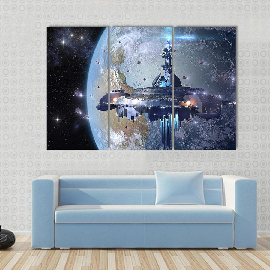 Aliens UFO mothership Near Earth Canvas Panel Painting Tiaracle