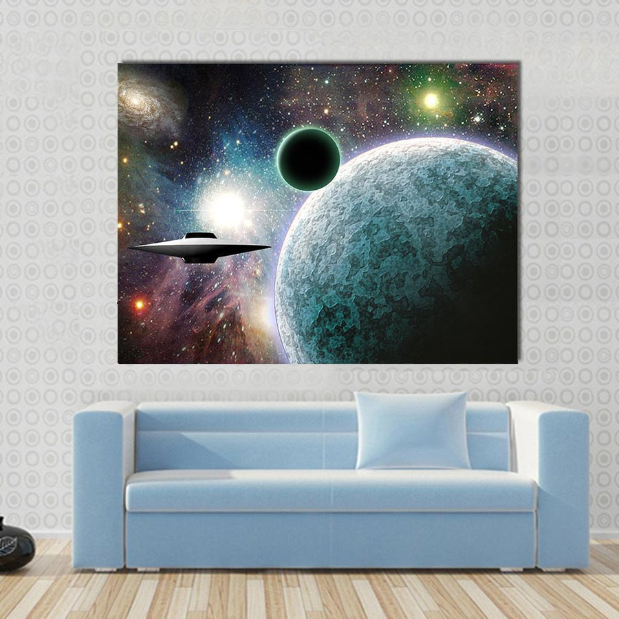 Aliens Planet With UFO In Deep Space Canvas Panel Painting Tiaracle