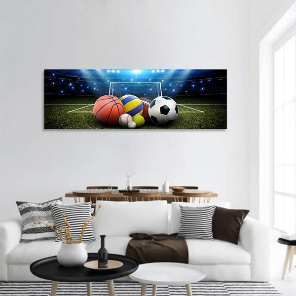 All Sports Balls In The Stadium Panoramic Canvas Wall Art 3 Piece / Small Tiaracle