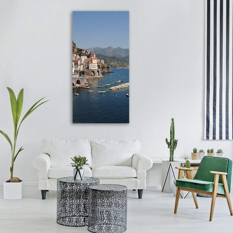 Amalfi Coast In Positano Italy Vertical Canvas Wall Art 3 Vertical / Small / Gallery Wrap Tiaracle