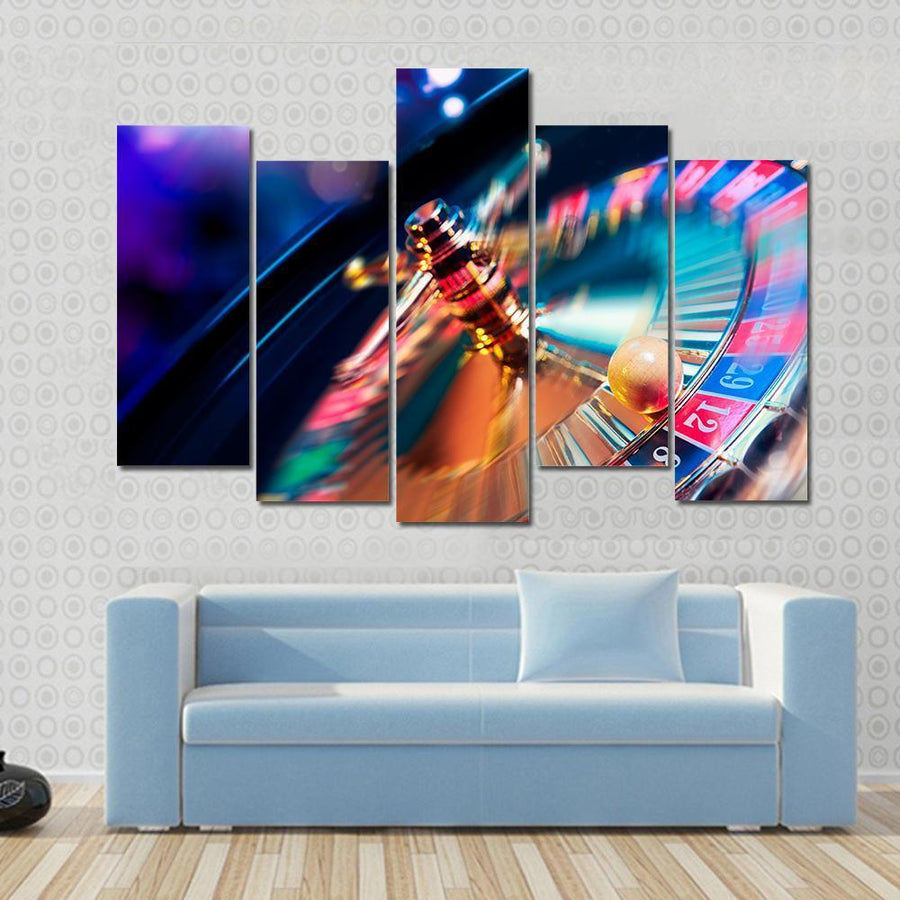Beautiful Image Of Casino Roulette In Motion Canvas Panel Painting Tiaracle